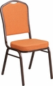HERCULES Series Crown Back Stacking Banquet Chair in Orange Fabric - Copper Vein Frame [FD-C01-C-9-GG]