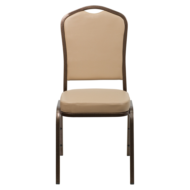 Wonderful HERCULES Series Crown Back Stacking Banquet Chair In Tan Vinyl   Copper  Vein Frame [FD C01 COPPER TN VY GG]