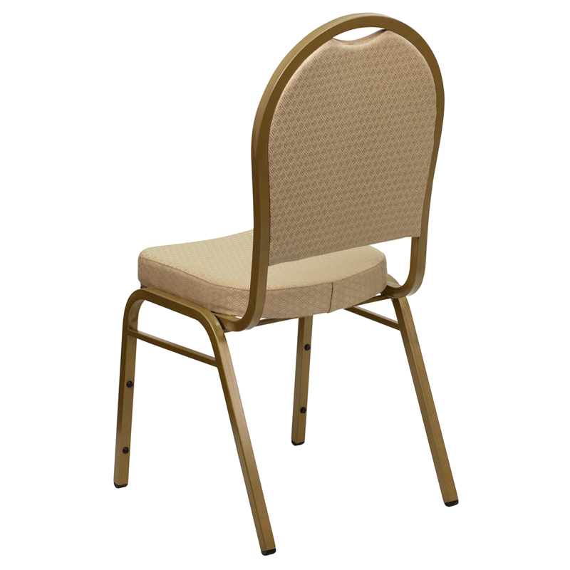 HERCULES Series Dome Back Stacking Banquet Chair in Beige Patterned Fabric