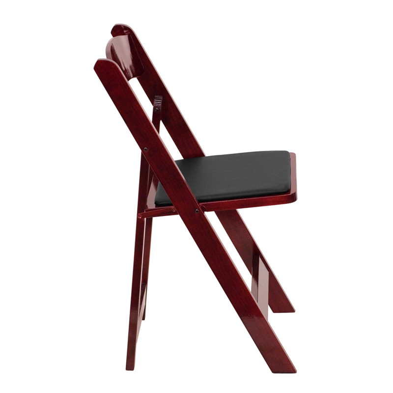 HERCULES Series Mahogany Wood Folding Chair With Vinyl Padded Seat  [XF 2903 MAH WOOD GG]
