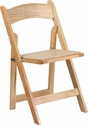 HERCULES Series Natural Wood Folding Chair with Vinyl Padded Seat [XF-2903-NAT-WOOD-GG]