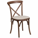 HERCULES Series Stackable Pecan Wood Cross Back Chair with Cushion [XU-X-PEC-NTC-GG]