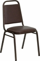HERCULES Series Trapezoidal Back Stacking Banquet Chair in Brown Vinyl - Copper Vein Frame [FD-BHF-2-BN-GG]