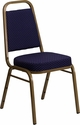 HERCULES Series Trapezoidal Back Stacking Banquet Chair in Navy Patterned Fabric - Gold Frame [FD-BHF-1-ALLGOLD-0849-NVY-GG]