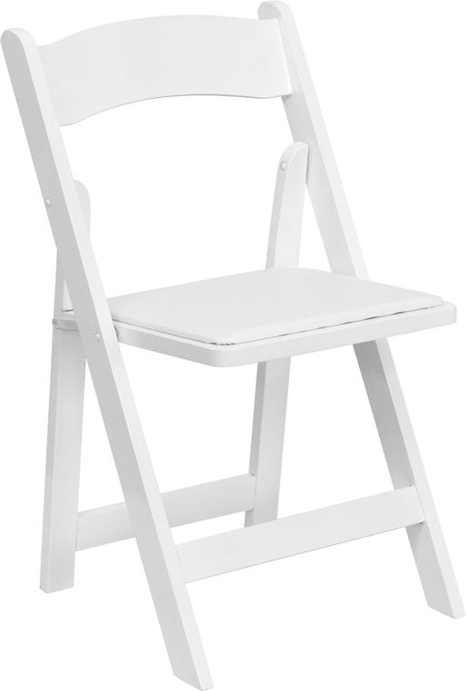 Nice HERCULES Series White Wood Folding Chair With Vinyl Padded Seat  [XF 2901 WH WOOD GG]