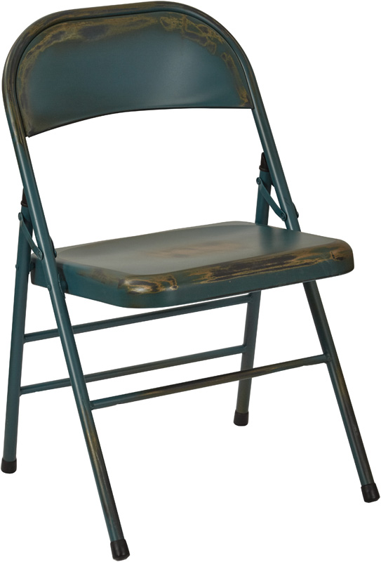 OSP Designs Bristow Distressed Steel Folding Chair Set of 2 Antique Turqu