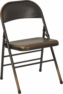 OSP Designs Bristow Distressed Steel Folding Chair   Set Of 4   Antique  Copper [BRW831A4 AC OS]