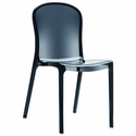 Victoria Modern Outdoor Polycarbonate Stackable See Through Dining Chair - Transparent Black [ISP033-TBLA-FS-CMP]