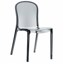 Victoria Modern Outdoor Polycarbonate Stackable See Through Dining Chair - Transparent Gray [ISP033-TGRY-FS-CMP]