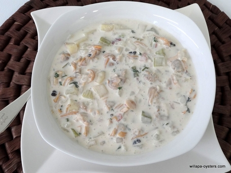 """Manila and Razor Clam Chowder <br><Font Face= """"Times New Roman, Times, Serif""""COLOR=#0101DF  SIZE=4><b>Gluten-free</b></font>"""