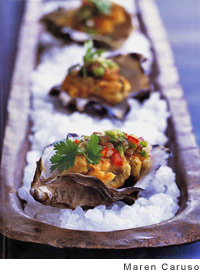 Oysters with Spicy Topping - Prep. Time 45 Minutes