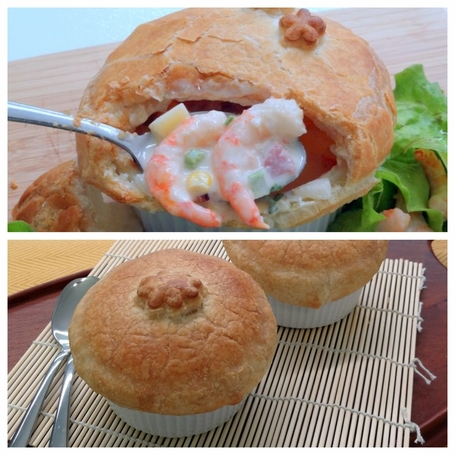 Four Pot Pies - 2 Wild Shrimp and 2 Oyster Special <br>Free Shipping - FedEx Standard Overnight