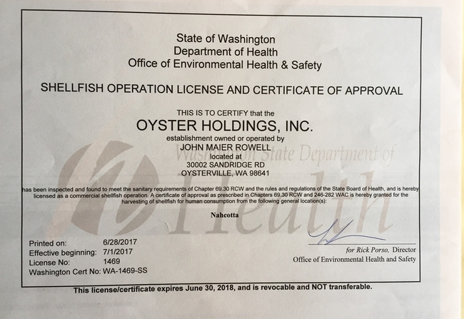Shellfish Operation License and Certificate of Approval