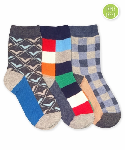 1117 Funky Plaid Dress Socks Triple Treat 3 Pair Pack
