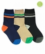 1191 Multi Boy Stripe Crew Navy/Khaki/Black Triple Treat 3 Pair Pack