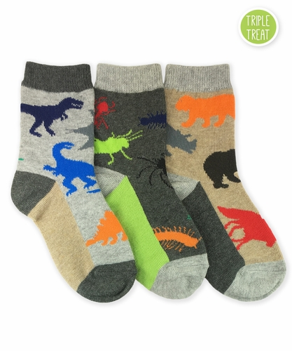 1194 Land Animals Crew Triple Treat 3 Pair Pack