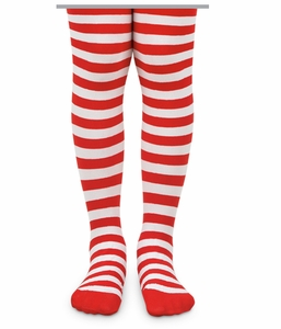 1419 Red and White Striped Tights