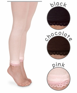 1472 Lace Trim Footless Tights