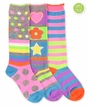 1633 Pastel Neon Stripe/Dots Knee High Triple Treat 3 Pair Pack