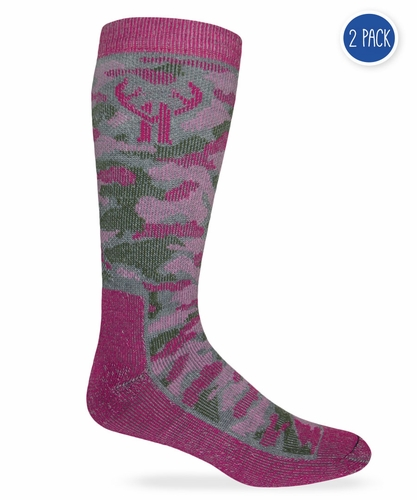 20816 Huntworth Pink Camo Wool Blend Boot Sock 2 Pair Pack