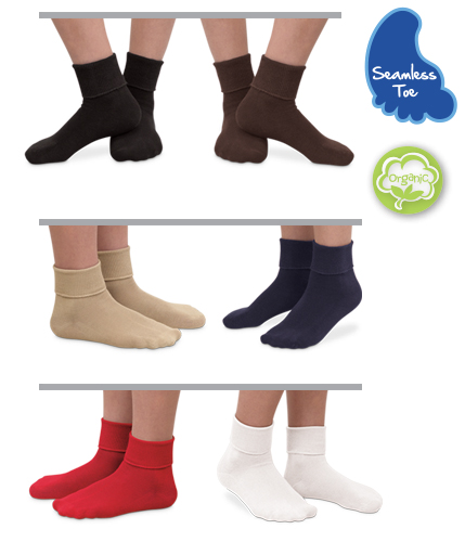 Basic Colors Organic Cotton Turn Cuff Socks