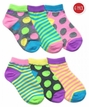 2783 Pastel Neon Dot/Stripe Low Cut 6 Pair Pack