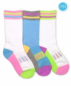 2870 Pastel Neon Sporty Crew 3 Pair Pack