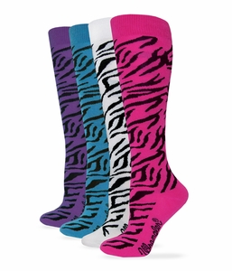 49644 Wrangler Ladies Zebra Boot Sock 4 Pair Pack