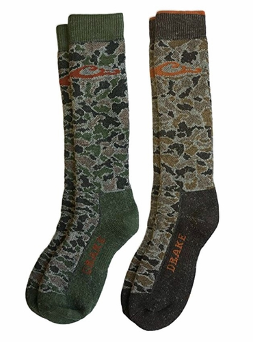72063 Drake Men's Merino Wool Camo Full Cushion Boot Socks