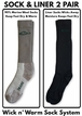 72114 Drake Men's Merino Wool and Sock Liner Extreme Cold Weather Boot Socks 2 Pair Pack
