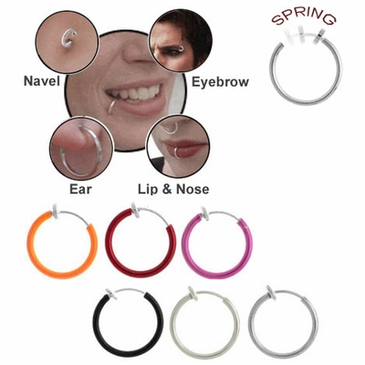 "1/2"" Fake Spring Hoop (Nose, Ear, Lips, Eyebrow, Belly Button)"