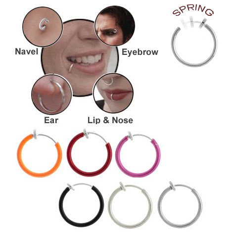 1 2 Quot Fake Spring Hoop Nose Ear Lips Eyebrow Belly Button