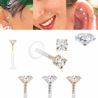 (OUT OF STOCK) DIAMOND 14K Gold Bioplast Push-In Stud for Cartilage, Tragus, Helix, Monroe