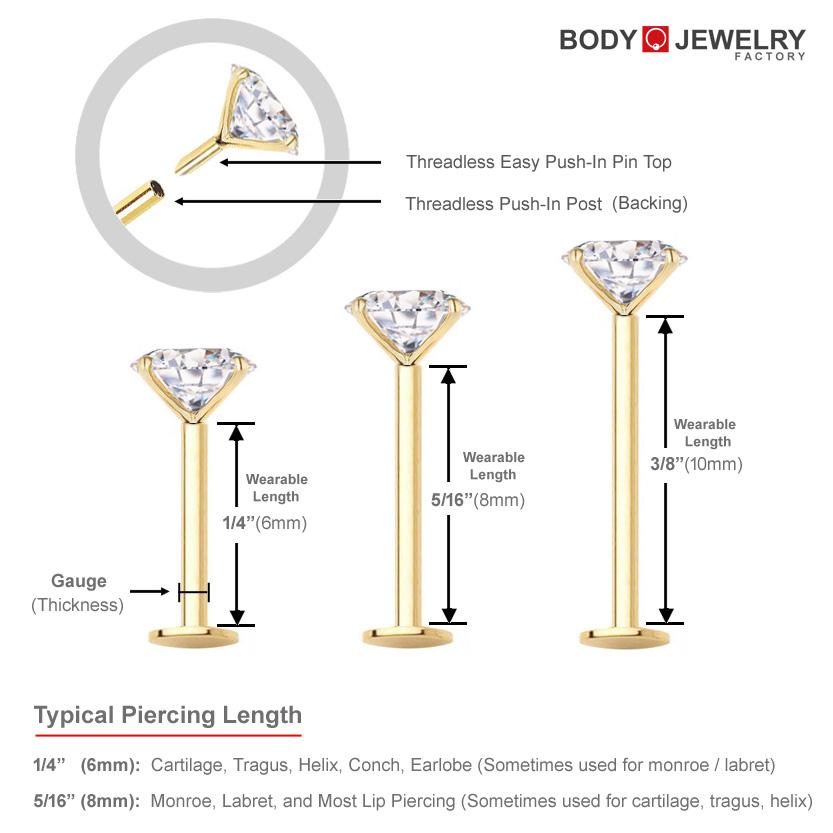Diamond Cartilage Tragus Helix Monroe Nose Stud Earring 18g
