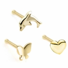 (DISCONTINUED) 14K Gold 18 Gauge Nose Ring - Butterfly, Dolphin, Heart