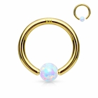 14K Gold AB Opal Captive Hoop Ring for Nose, Cartilage, Helix, Daith, Tragus Piercing