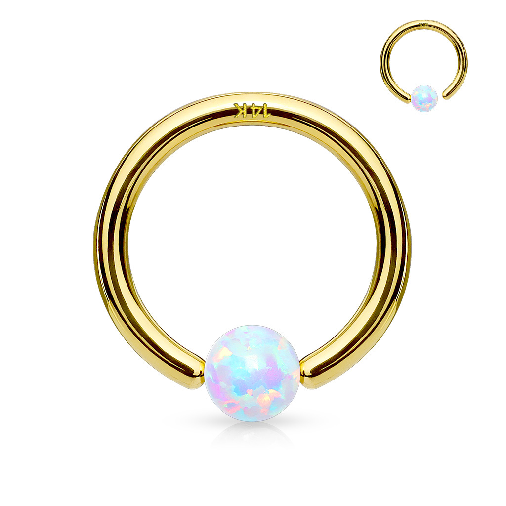 14k Gold Ab Opal Ball Attached Hoop Ring