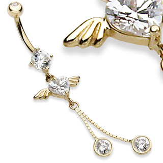 14K Solid Gold Angel Heart Belly Button Ring