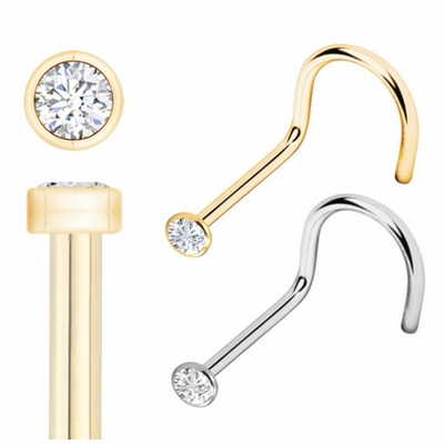 Italian 14K Solid Gold Tiny 1.2 mm Bezel-Set CZ Nose Stud - Screw Type