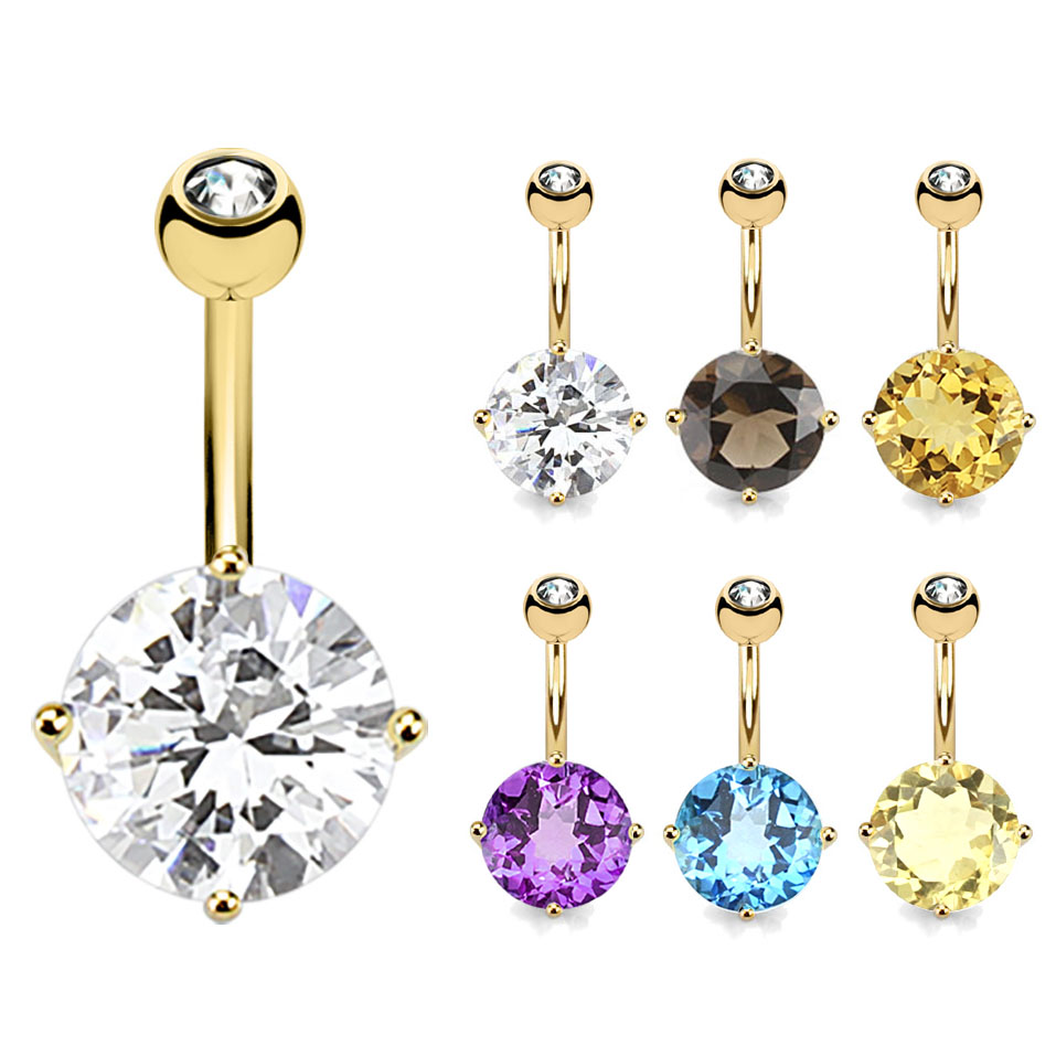Discontinued 14k Solid Gold Big 10mm Round Semiprecious Gemstone Belly Button Ring
