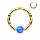 14K Gold Blue Opal  Ball Attached  Hoop Ring for Nose, Cartilage, Helix, Daith, Tragus