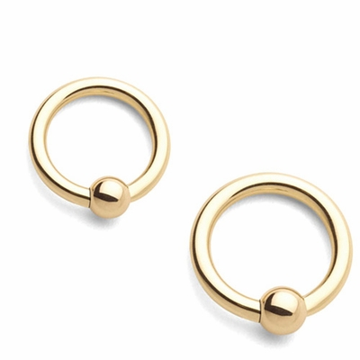 14K Solid Gold Captive Ring - 18G, 16G, 14G