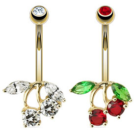 14K Solid Gold Cherry Belly Button Ring