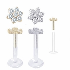 14K Solid Gold Christina Flower Internal Bioplast Stud for Monroe, Labret, Tragus, Helix