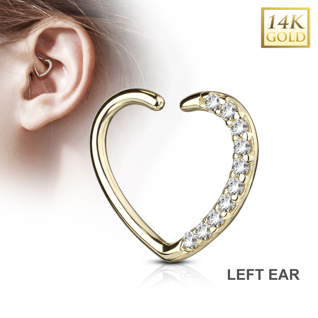 14k Gold Cz Open Pave Heart 16g Cartilage Daith Ring