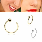 14K Gold Ball-End Open Hoop Ring for Nose, Cartilage