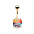 (DISCONTINUED) 14K Solid Gold Princess Miracle Gem Belly Button Ring
