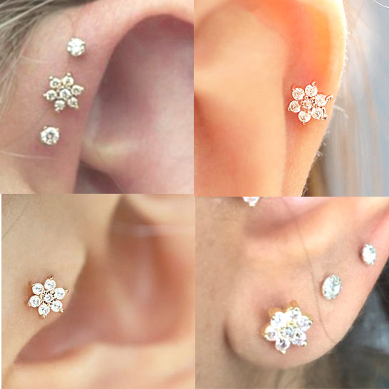 14k Gold Flower Cartilage Tragus Helix Push In Single Flat Back Earring