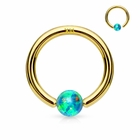 14K Gold Green Opal Ball Attached Hoop Ring for Nose, Cartilage, Helix, Daith