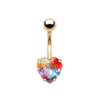 (DISCONTINUED) 14K Solid Gold Heart Miracle Gem Belly Button Ring